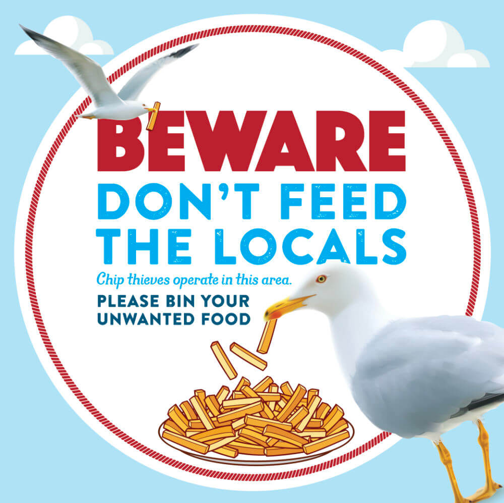 Beware - Don't Feed The Local Seagulls Poster