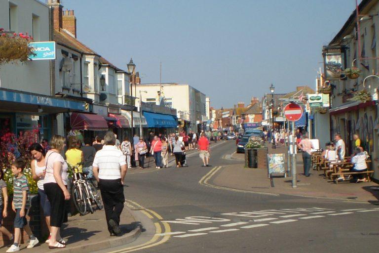 Burnham-on-Sea High Street lots of people