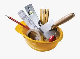 Yellow hard hat with builders tools inside it