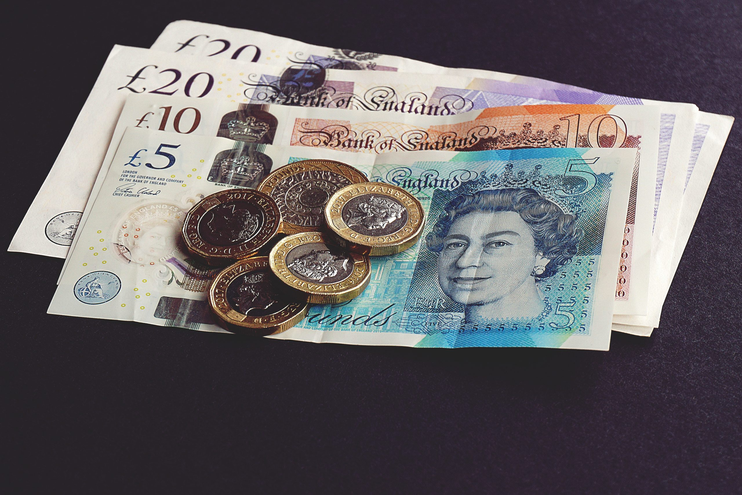 Photo of English bank notes and coins