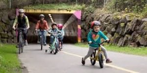 Family riding bikes on a cycle path