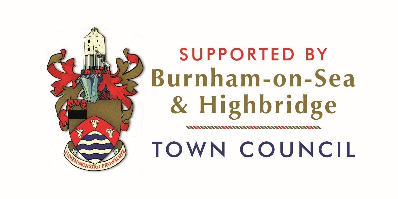 Town Crest image. Supported by Burnham-on-Sea & Highbridge Town Council