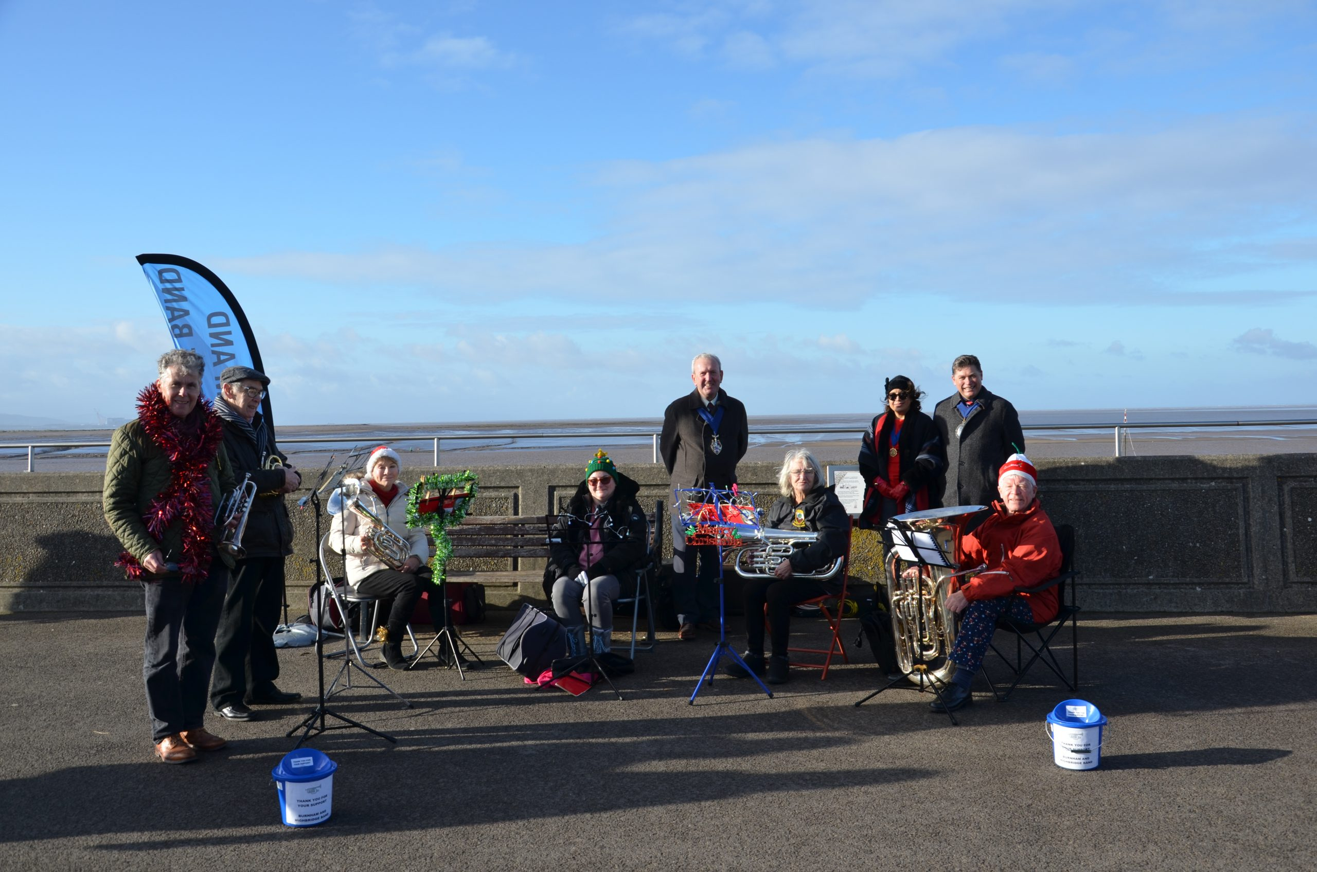 Town Band playing on Sea Front watched by Mayor and Deputy