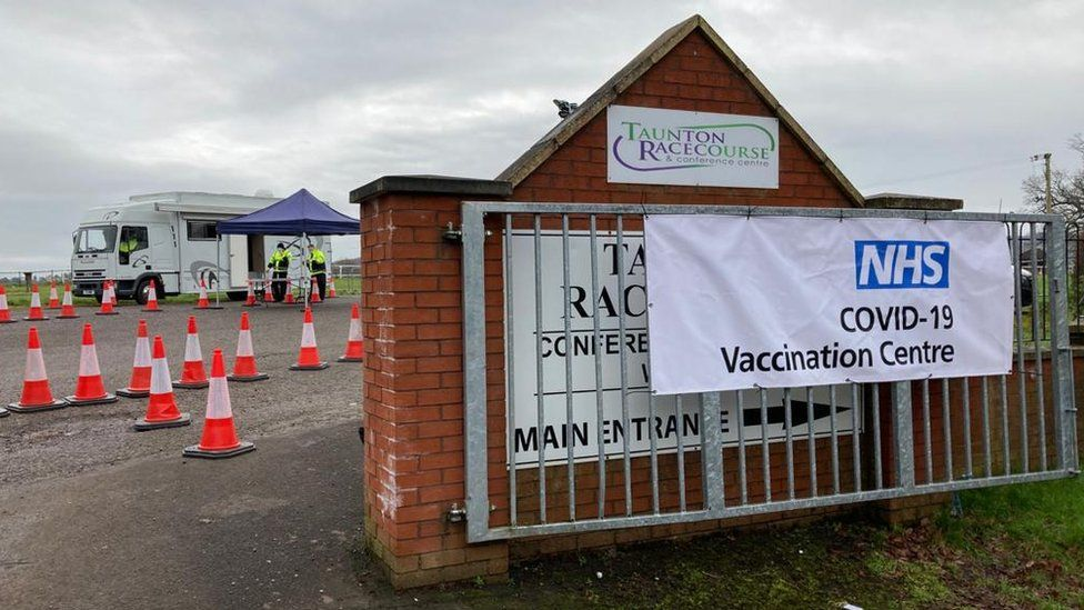 Taunton Racecourse Entrance with NHS Poster