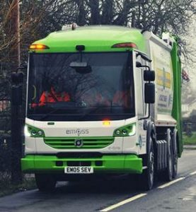 Image of electric truck for waste bin collections
