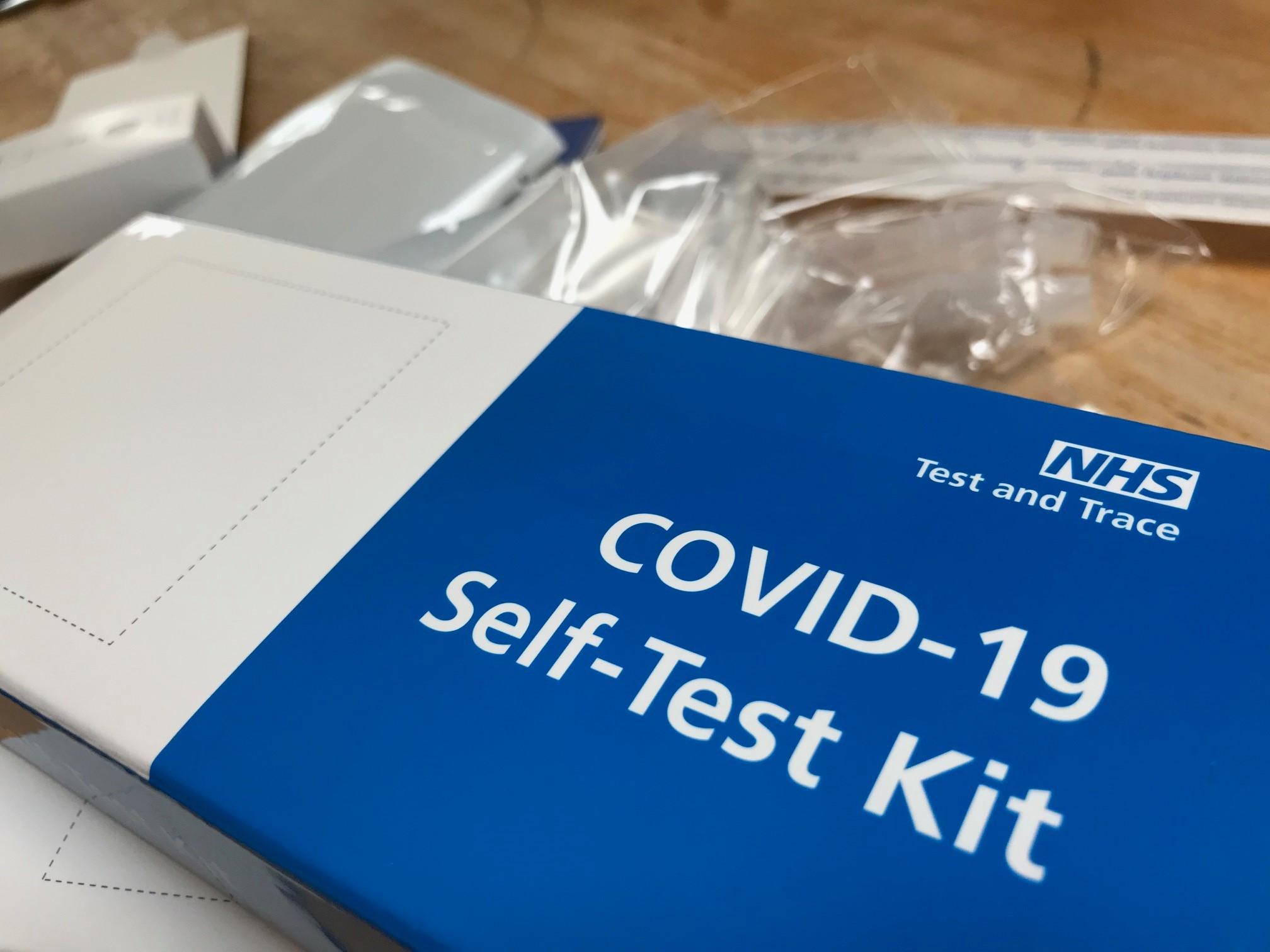 Image of covid-19 self test kit blue box